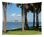 St Pete Pier Through Palm Trees Tapestry