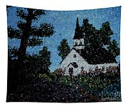 Stained Glass Church Scene Tapestry