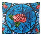 Stained Glass Roses Tapestry