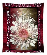 Stained Glass Template White Chrysanthemum Tapestry