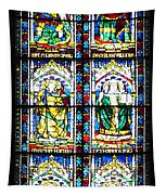 Stained Glass Window Of Santa Maria Del Fiore Church Florence Italy Tapestry