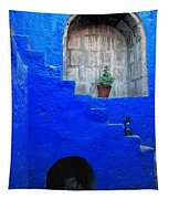 Staircase In Blue Courtyard Tapestry