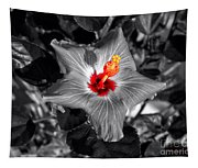 Star Bright Hibiscus Selective Coloring Digital Art Tapestry
