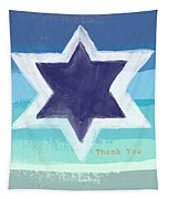 Star Of David In Blue - Thank You Card Tapestry by Linda Woods