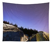 Star Trails Over Rocks In Saguenay-st Tapestry