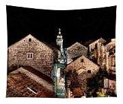 Starry Night Above The Rooftops Of Korcula Tapestry