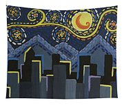 Starry Night Cityscape Tapestry