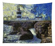 Starry Hook Head Lighthouse Tapestry