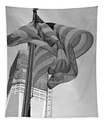 Stars And Stripes And 1 W T C In Black And White Tapestry