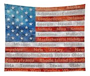 Stars And Stripes With States Tapestry