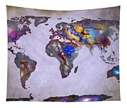 Stars World Map Space Tapestry