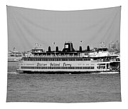 Staten Island Ferry In Black And White Tapestry