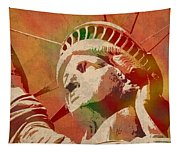 Statue Of Liberty Watercolor Portrait No 1 Tapestry