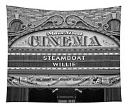 Steam Boat Willie Signage Main Street Disneyland Bw Tapestry