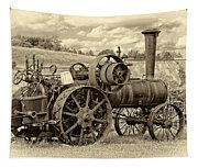 Steam Powered Tractor Sepia Tapestry