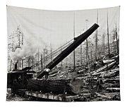 Steam Loader Loading Logs C. 1890 Tapestry