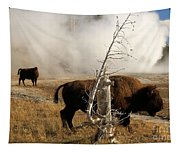 Steaming Bison Tapestry