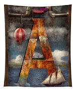 Steampunk - Alphabet - A Is For Adventure Tapestry by Mike Savad