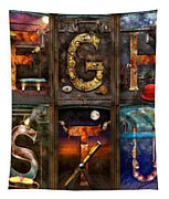 Steampunk -  Alphabet - Banner Version Complete Tapestry by Mike Savad