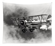 Stearman Biplane Black And White Tapestry