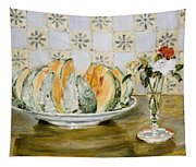 Still Life Of A Melon And A Vase Of Flowers Tapestry