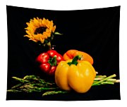 Still Life Peppers Asparagus Sunflower Tapestry