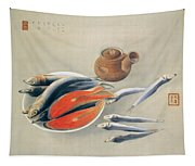 Still Life  Salmon Slices And Sardines Tapestry