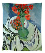 Still Life With Seagulls Poppies And Strawberries Tapestry