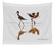 Stilt And Avocet Share The Pond Tapestry