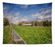 Stone Barn On A Spring Morning Tapestry