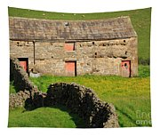Stone Barn With Red Doors In Swaledale Yorkshire Dales Tapestry