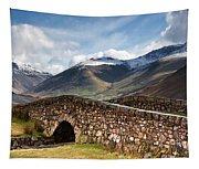 Stone Bridge In Mountain Landscape Tapestry
