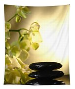 Stone Cairn And Orchids Tapestry by Olivier Le Queinec
