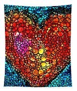 Stone Rock'd Heart - Colorful Love From Sharon Cummings Tapestry
