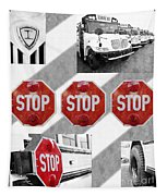 Stop For Students Painterly Bw Red Signs Tapestry