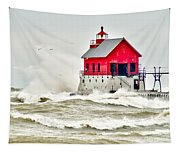 Stormy At Grand Haven Light Tapestry