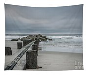 Stormy Beach Forcast Tapestry