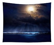 Stormy Moonrise Tapestry