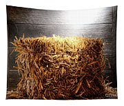 Straw Bale In Old Barn Tapestry