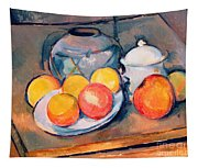 Straw Covered Vase Sugar Bowl And Apples Tapestry