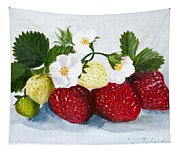 Strawberries With Blossoms Tapestry