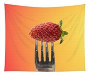 Strawberry On Fork Tapestry