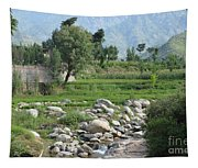 Stream Trees House And Mountains Swat Valley Pakistan Tapestry