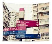 Street Signs In Hong Kong Tapestry