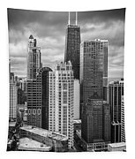 Streeterville From Above Black And White Tapestry