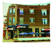 Streets Of Pointe St Charles Centre And Charlevoix Summer La Chic Regal Pub Scenes Carole Spandau Tapestry