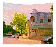 Streets Of Pointe St Charles Summer Scene Connies Pizza Rue Charlevoix Et Grand Trunk Carole Spandau Tapestry