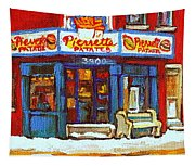Streets Of Verdun Hockey Game At Famous Verdun Restaurant Pierrette Patates Montreal Hockey Art  Tapestry