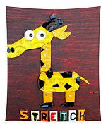 Stretch The Giraffe License Plate Art Tapestry by Design Turnpike