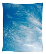 Strong Winds Forming Cirrus Clouds With A Deep Blue Sky. Tapestry